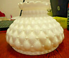Diamond Quilted White Milk Glass Hurricane Oil Kerosene Lamp Shade