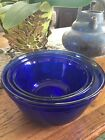 Set of 3 Anchor Hocking Cobalt Blue 1, 1.5, 2.5 Quart Nesting Mixing Glass Bowl