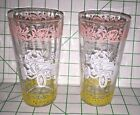 2 Vintage Libby Drinking Glasses Americana HORSELESS carriage Scene PAIR