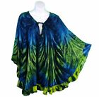 Tie Dye Ruffled Pull Over Poncho Top Green Gold Blue