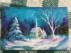 VTG  Unused Christmas Greeting Card Turquoise color Church in Snow By Cleo