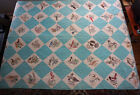 State Bird Quilt Hand Embroidered Turquoise Blocks 64 x 102
