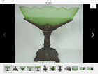 Vintage Art Deco depression glass green jadite candy dish 1920s