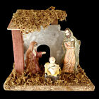 MINIATURE CHRISTMAS NATIVITY SET includes FIGURES  MOSS DECORATED WOOD CRECHE