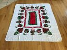 Vintage Christmas Holiday Poinsettia Tablecloth 70x29 Candles Holly Linen