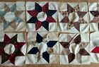 Set of 10 Quilt Squares STAR PATTERN 10 White w Multi Colored Project Piece