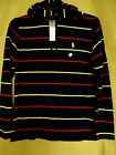 NEW Polo Ralph Lauren Mens Hooded T Shirt Navy Yellow Red Striped Pullover