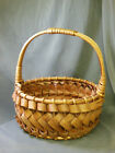 Large handmade Basket with Handle  beautiful details Earthy 15 tall 13 dia
