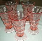 Vintage Set of 5 Vibrant Pink Cubic Optic Glass Ice Cream Soda/Parfait Glasses