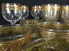 vintage CULVER VALENCIA Gold Green Diamond high low ball wine glasses 17 PIECE!