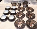 17 Pc Satsuma Tea Set for 6 w Plates Immortal Riding White Elephant Japan Rare