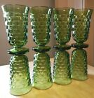 Vintage 8 INDIANA Cubist/Cube Green Glass Footed Iced Tea 12 Oz. Tumblers