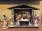 Antique Christmas Nativity Wood Manger Creche W Figures As Shown Germany