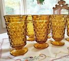 Amber Iced Tea Glasses 4 Whitehall Colony Indiana Glass  Coolers Footed 14 oz