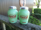 Coca Cola Large Salt and Pepper Shaker Jadeite Glass Style Script Logo NEW