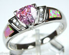 Trillion Pink Topaz  Pink Fire Opal Inlay 925 Sterling Silver Ring Size 6 9