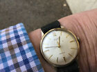 Vintage 9ct Solid Gold Avia Mans Watch No Reserve