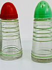 Vintage Glass Diner Style Salt  Pepper Shakers Bullet Style Red and Green Lids