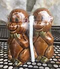 Vintage Monkey Salt and Pepper Shakers Unopened Made in Japan Ceramic 50s Kitsch