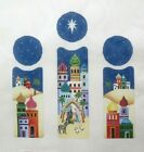 Strictly Christmas Nativity Triptych Scene Handpainted Needlepoint Canvas