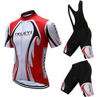 Mens Cycling Jersey Set Quick Dry Bike Clothing Short Sleeve Bib Shorts Suits