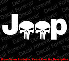 LARGE JEEP Punisher Skull WRANGLER Die Cut Car Window Vinyl Decal Sticker JW007