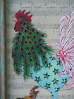 OOAK COUNTRY CHRISTMAS ROOSTER PICTURE SWAROVSKI CRYSTALS BROYHILL FRAME