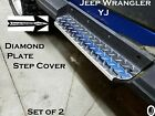 Jeep Wrangler YJ Polished Aluminum Diamond Plate Rocker Step Plates Set 1987-95