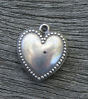 VINTAGE STERLING SILVER PUFFY HEART CHARM Beaded Border with Engraving