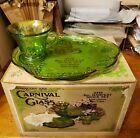 VINTAGE INDIANA GLASS IRIDESCENT LIME GREEN CARNIVAL 8 PC HARVEST SNACK SET IOB