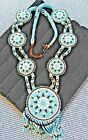 Native Tribal Leather jewelry long homemade necklace w Huge Blue seed beads