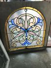 Sg2957 Arch Top Jeweled Stained Glass Landing Window 2825 X 3025