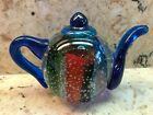 DYNASTY GALLERY COLLECTIBLE COBALT BLUE AND CLEAR GLASS TEAPOT PAPERWEIGHT