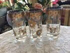 3 Gold Mid Century Highball Tumblers Jeweled Culver Style Jewel Glasses Rare