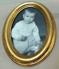 VINTAGE Small Gold Gilt Oval Frame Cracked Glass Baby Picture