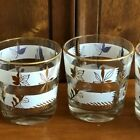 Vintage gold leaf, with two white stripes, low ball/tumbler glasses, barware