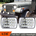 2PC 7X6 5X7 Square LED Headlight For 87 95 Jeep Wrangler YJ 84 01 Cherokee XJ