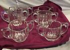 Vintage Double Handle Glass Cup Clear Cut Glass Look 6oz *PERFECT Condition 6pcs