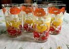 's Drinking Glasses Morning Glory Flowers Bold Orange Yellow Red