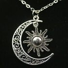 large SUN STAR CRESCENT MOON pendant 20 Sterling Silver 925 chain female mom
