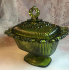 Vintage Green Indiana Glass Lace Edge Oblong Covered Candy/Compote Dish