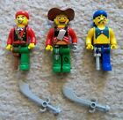 LEGO - 4 Juniors - Pirates - Rare - 3 Pirate Minifigures w/ Weapons - Excellent