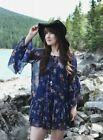 172651 New Free People Sunsetter Floral Printed Ruffle Blue Mini Dress Large L
