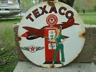 OLD TEXACO AVIATION PORCELAIN GAS PUMP SIGN AIRPLANE PIN UP GIRL