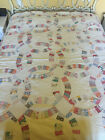 Vintage Feed Sack Quilt Double Wedding Ring Hand Quilted Hand Stiched