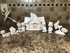 Precious Moments Sugar Town Doctors Office Complete 7 Piece Set NEW With Light