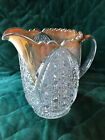 Old Clear Glass Pitcher - Pressed Button Design - Gold Trim -Very Heavy - 6 1/2