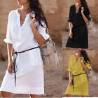 Casual Women Cotton Shirt Dress Summer Shirt dress Loose Long Sleeve Mini Dress