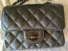 CHANEL Crumpled Calfskin Quilted Mini Square Flap SO BLACK
