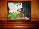 Native American Indian Sitting Under a Tree Hard Canvas Oil Painting with Frame